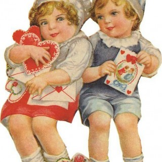 Vintage Valentines Day Image of Children