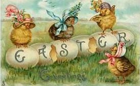 Easter Vintage Image eggs and chicks