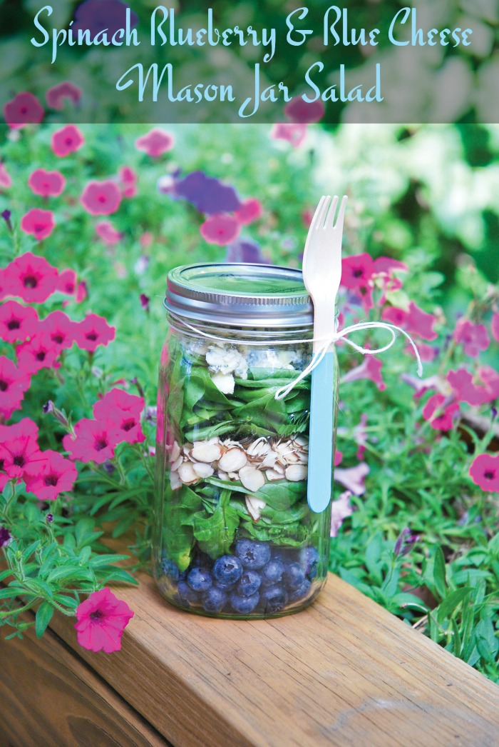 blueberry spinach blue cheese mason jar salad Spinach Blueberry and Blue Cheese Mason Jar Salad Recipe