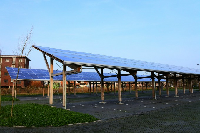 Carport covered with solar panels