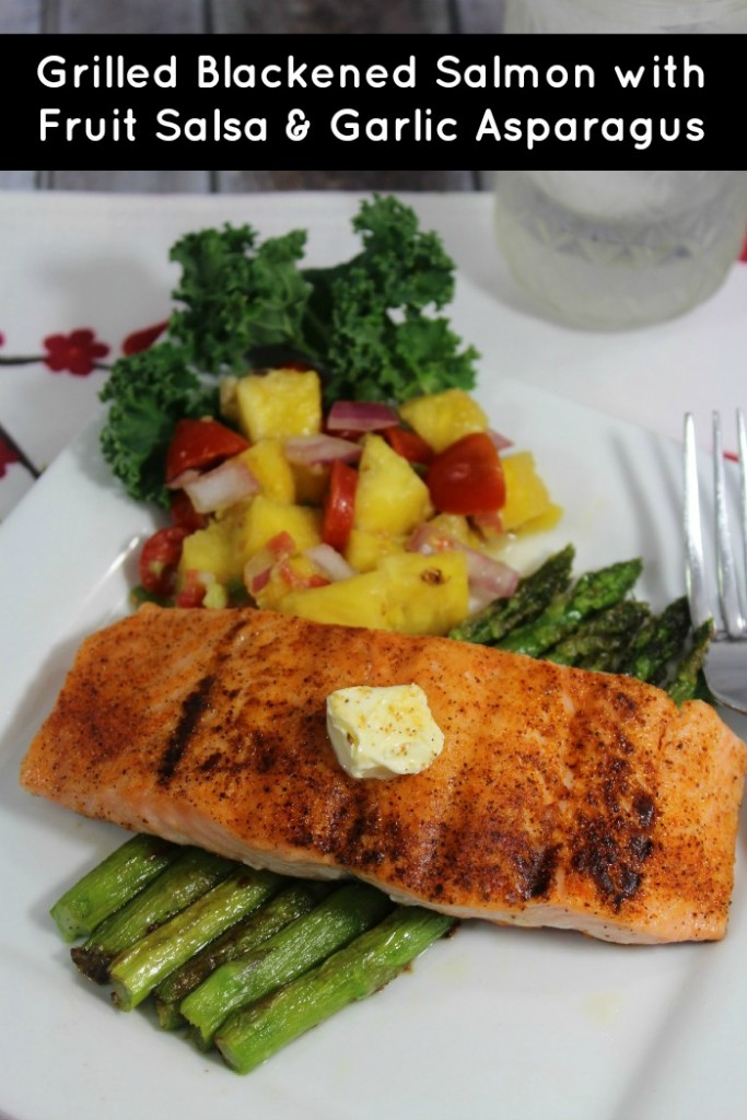 Blackened Salmon with Fruit Salsa and Garlic Asparagus