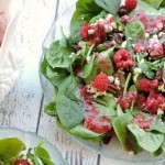 Spinach Gorgonzola Salad with Raspberry Vinaigrette Dressing