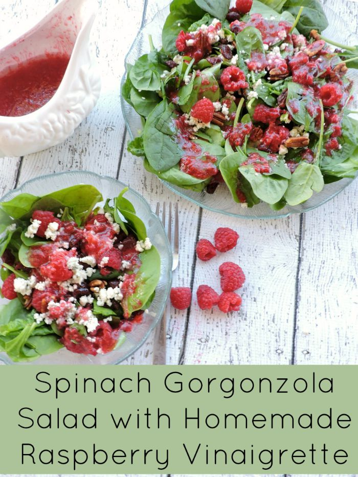 Spinach gorgonzola salad with Homemade raspberry vinaigrette dressing v