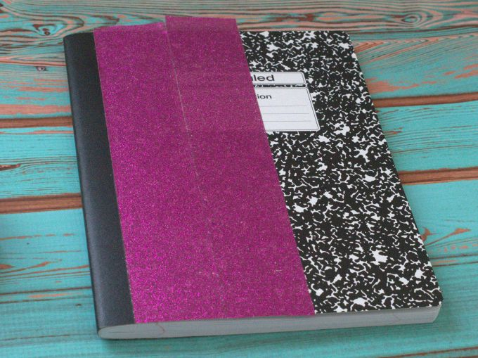 glittered composition book
