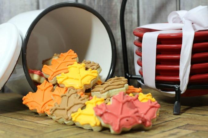 mini fall leaf decorated sugar cookies