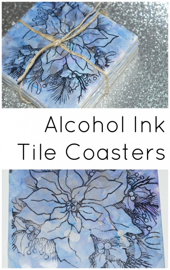 Stamped alcohol ink upcycled tile coasters