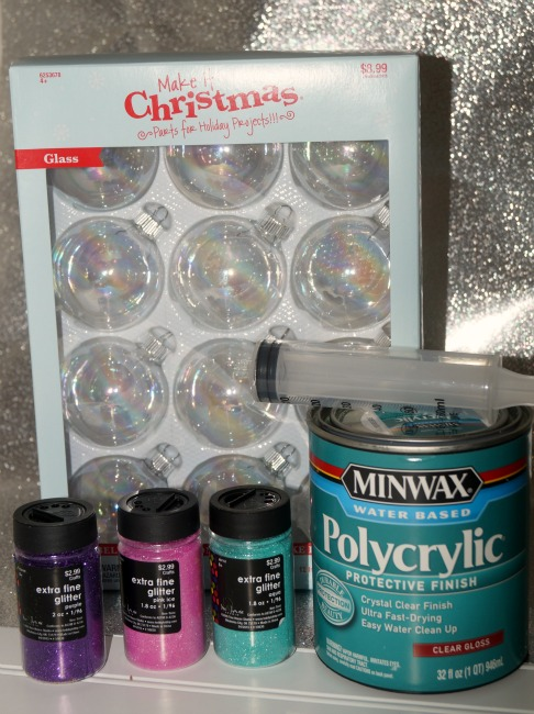 glittered glass ornaments supplies
