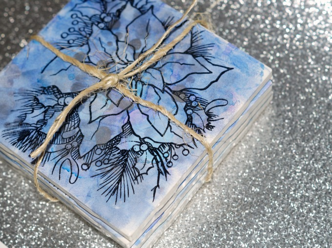 stamped alcohol ink upcycled tile coasters set