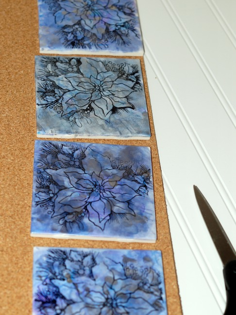 upcycled tile coasters on cork
