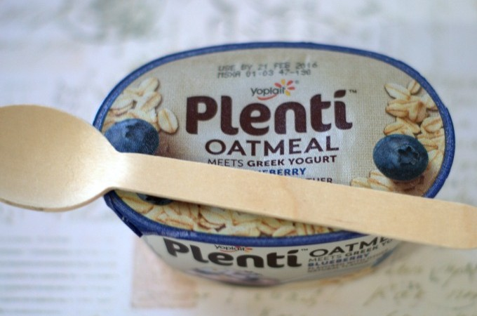 plenti with oatmeal with spoon