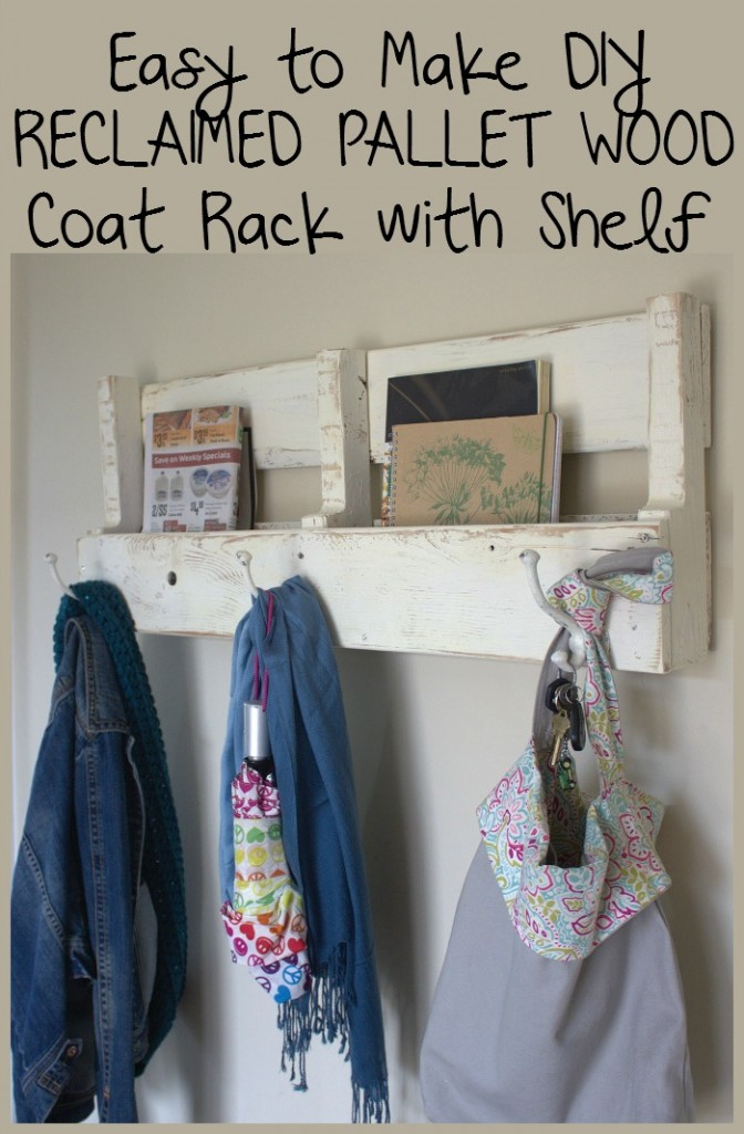 Easy to make pallet wood coat rack with shelf