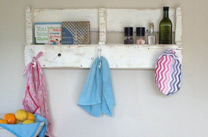 pallet wood coat rack with shelf