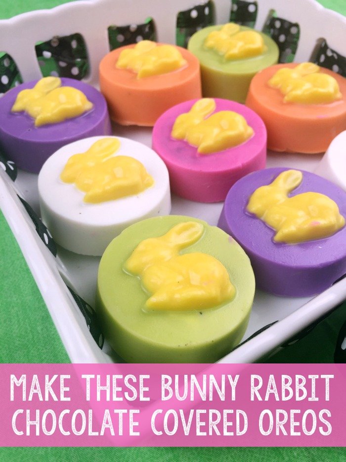 Make these quick and easy bunny rabbit molded chocolate covered oreos