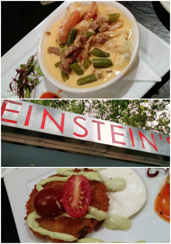 Einsteins shrimp and grits and fried green tomato