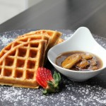 Belgian Waffles with Maple Bananas Foster Sauce