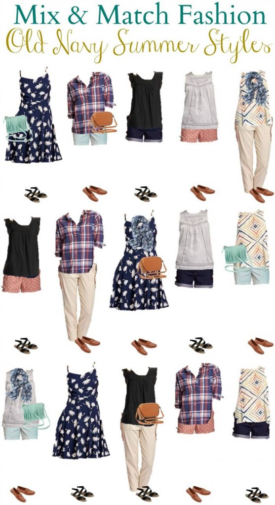 Old Navy Mix and Match Wardrobe for summer