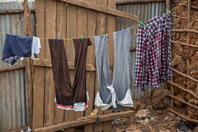 Laundry drying on the line