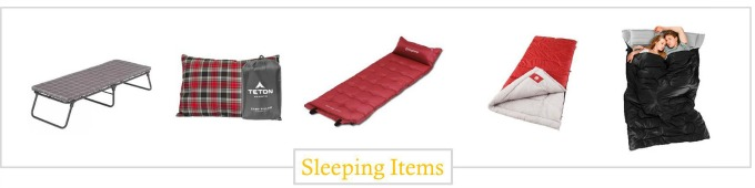 Must have sleeping items camping gear