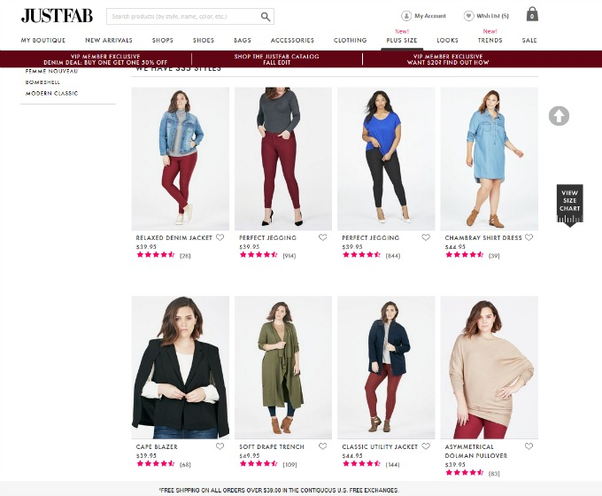 JustFab Plus Sized Fashion Screenshot