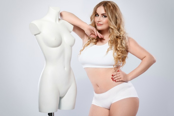 Plus sized model in white undies