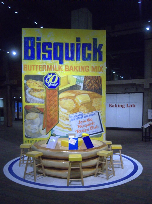 Giant interactive Bisquick box and pancake table from Mill City Museum