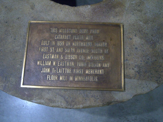 Photo of the a millstone from Minneapolis' first merchant flour mill, circa 1859.