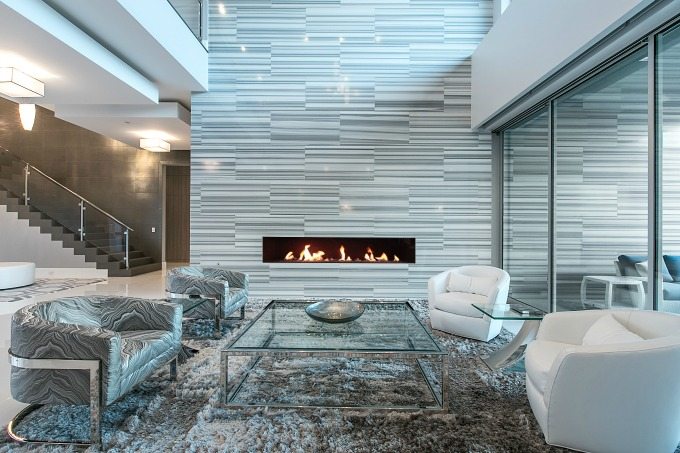 Marble used in a very modern fireplace update