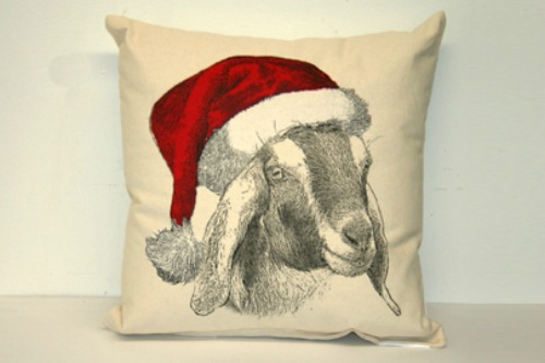 Santa goat pillow.