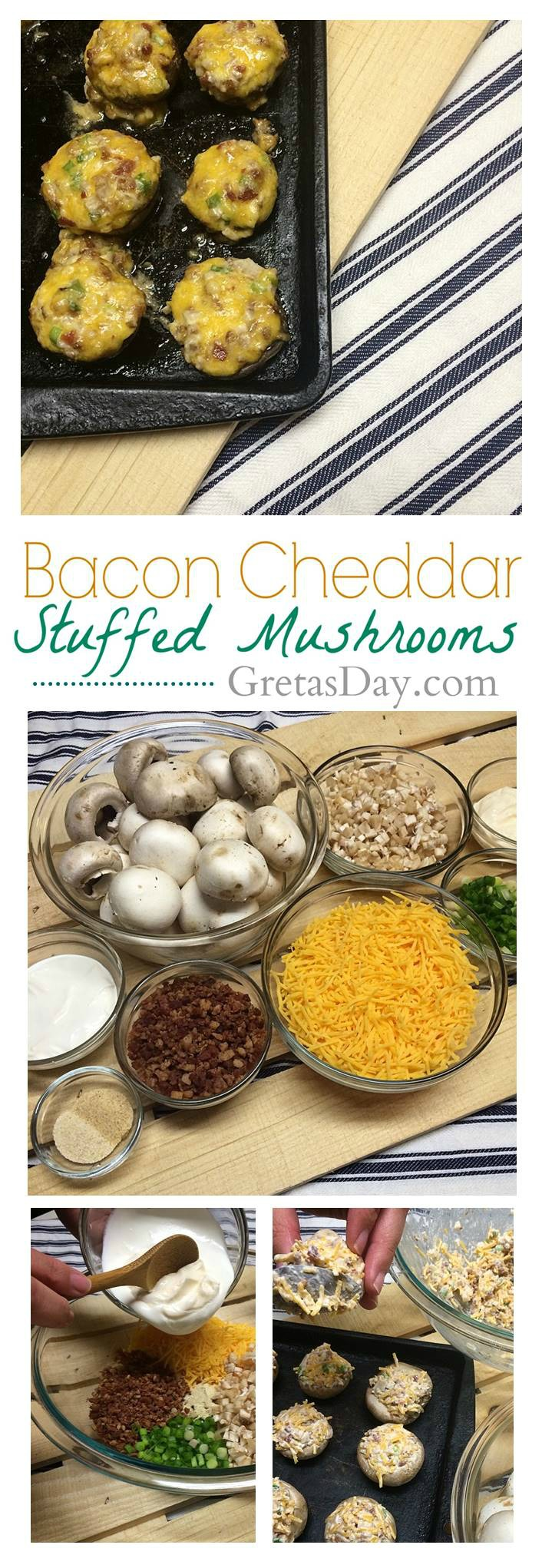 Hw to make the best bacon cheddar stuffed mushrooms