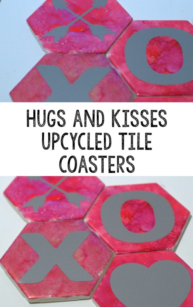 Hugs and Kisses upcycled tile coasters for Valentine's Day