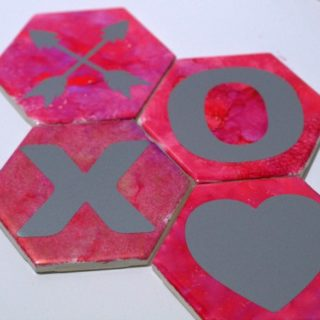 Hugs and Kisses Upcycled Tile Coasters Tutorial