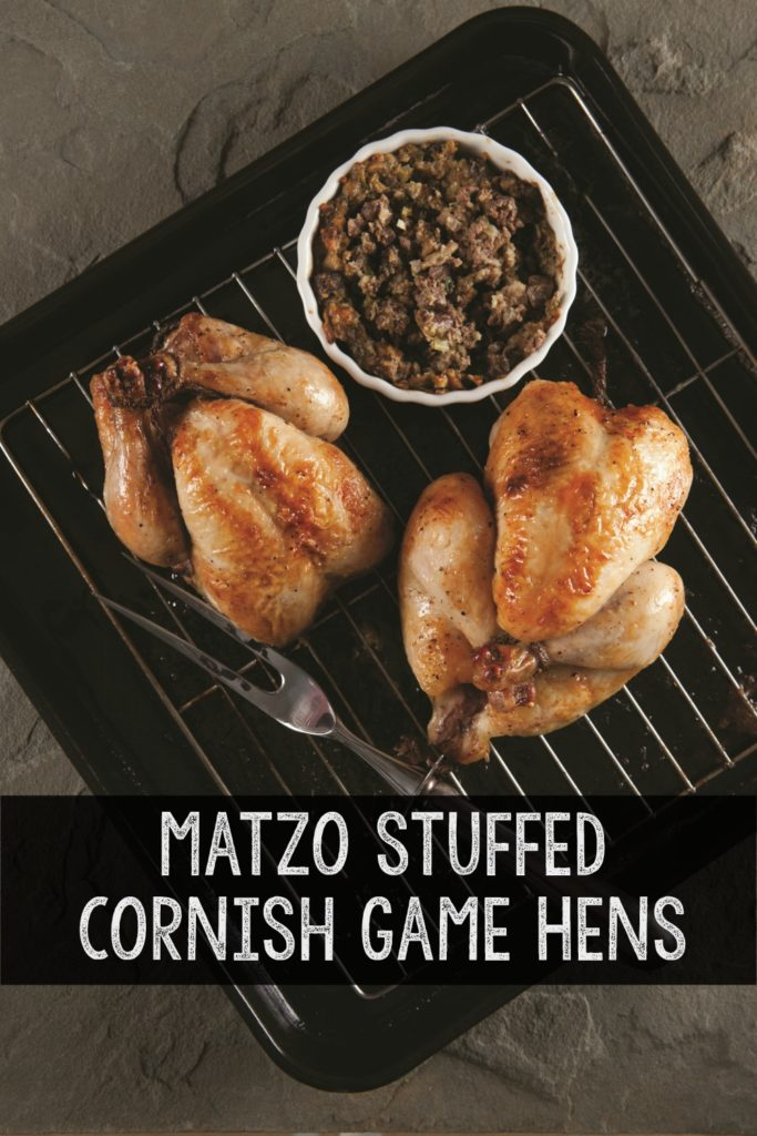 Easy and delicious Matzo stuufed cornish game hens recipe