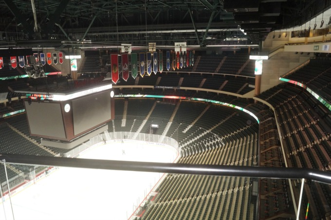 View of the ice from the Xcel Energy Center organ