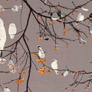 Birds on branches jersey knit fabric