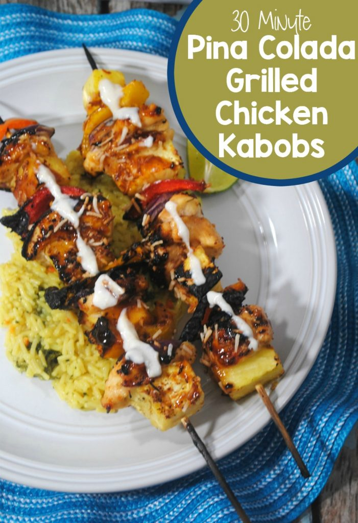 Quick and easy Pina Colada grilled chicken kebabs
