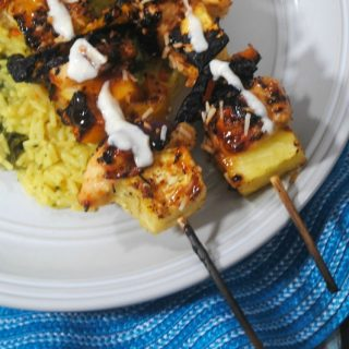 30 Minute Pina Colada Grilled Chicken Kabobs