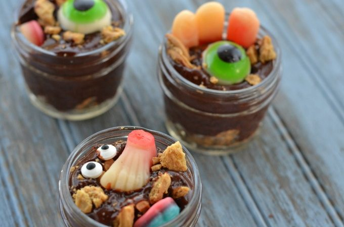 Creepy Zombie Apocalypse pudding is great for Halloween - or any creepy party.