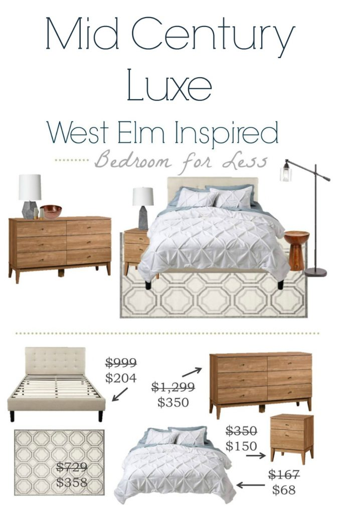 Get this fab Mid Century Modern Luxe bedroom that was inspired by West Elm for a whole lot less.
