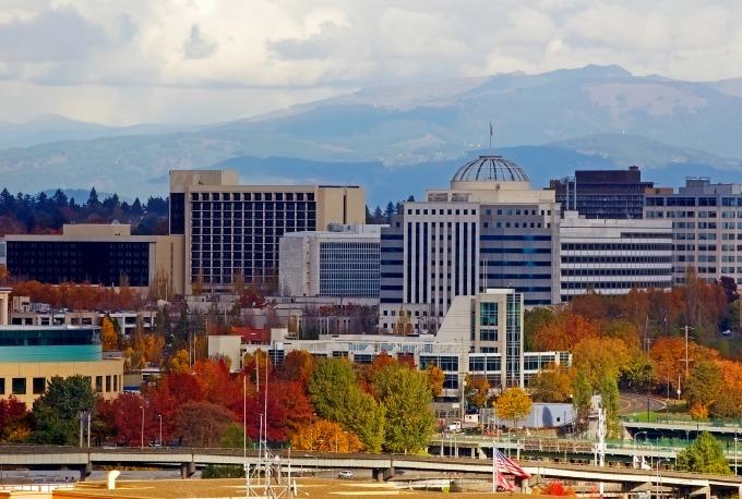 City of Portland, Oregon in the fall.