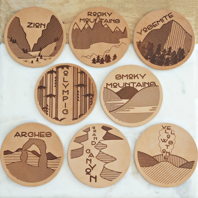National Parks Leather Coasters from East Grove Stamp Co