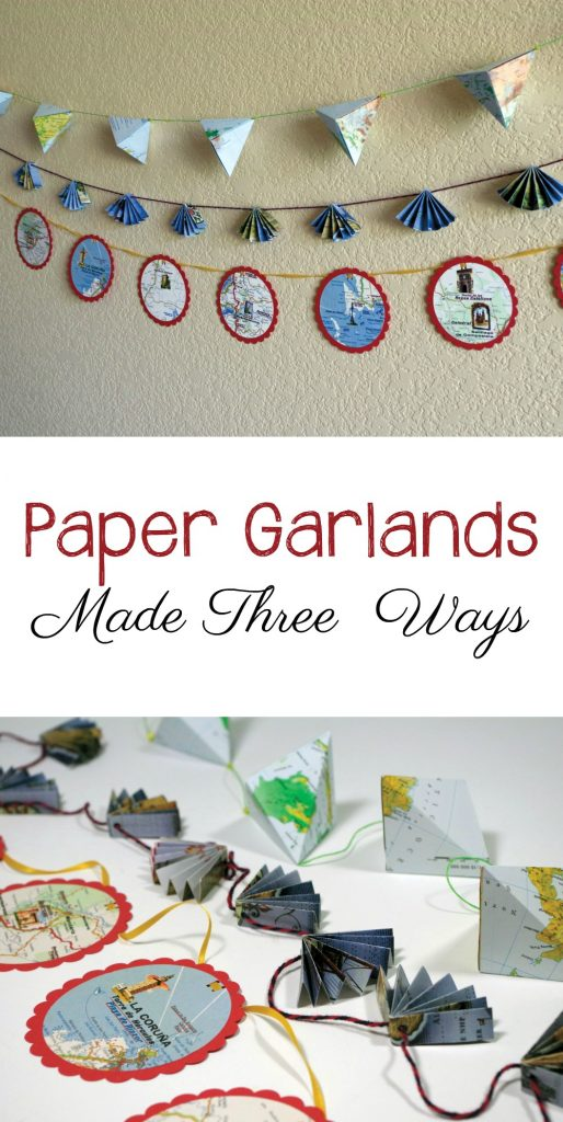 Learn to make DIY paper garland in three different styles. Crane Egg, Fans, and Stacked Circles. We used maps, but you can use anything. Great for backdrops or holiday decorations too