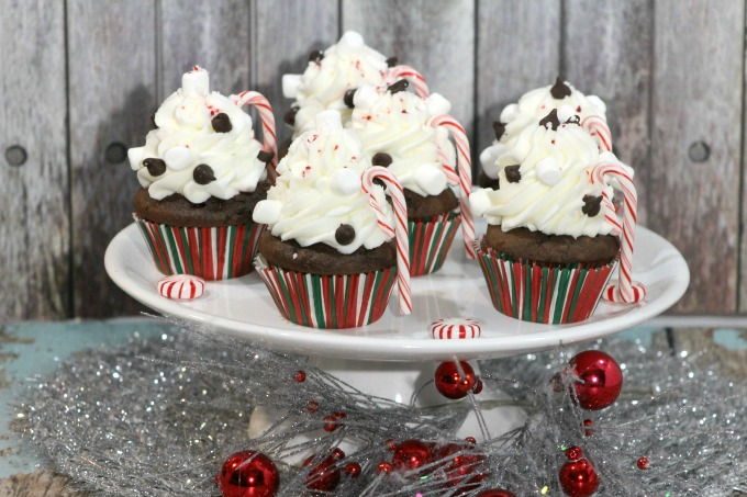 Delicious Peppermint Hot Chocolate Cupcakes for the holidays