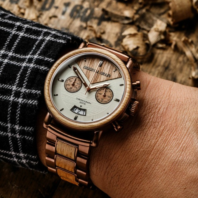 Original Grain Alterra Chronograph watch made from bourbon barrels