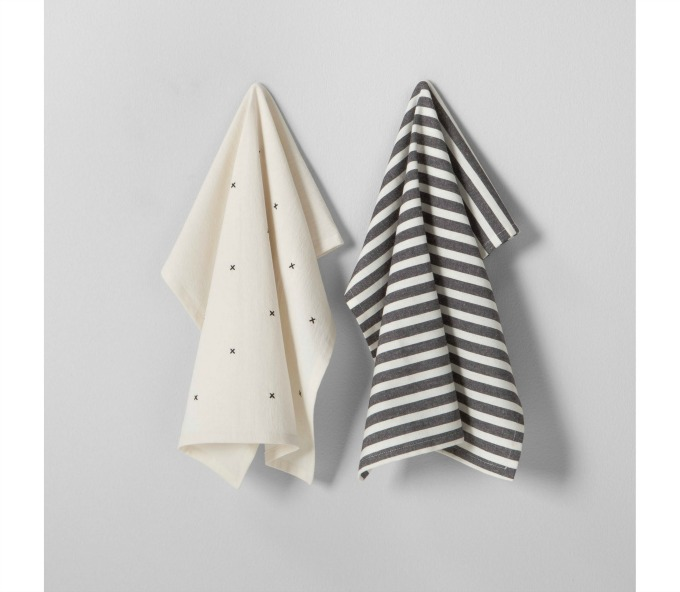 Striped and X design dish towels
