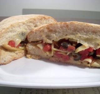 Vegetarian antipasto sandwich