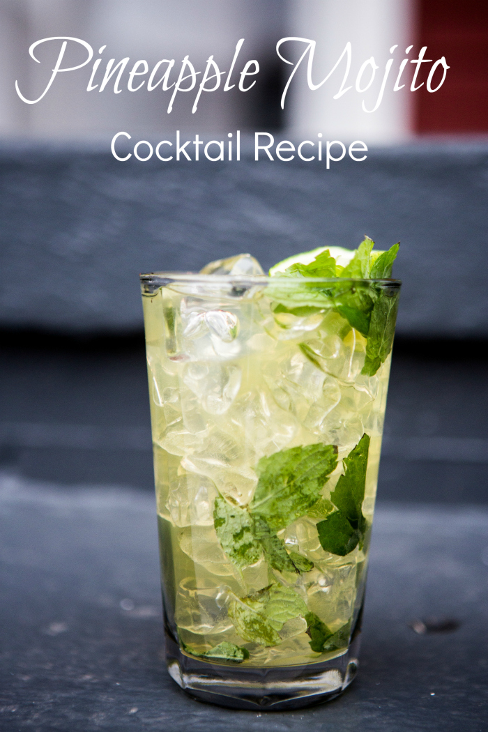 An easy to make twist on the classic mojito cocktail. This pineapple version is so tasty, and so simple. It's the perfect drink for summer. | Moonshine | Tropical | Drink | Mixology | Home bar |