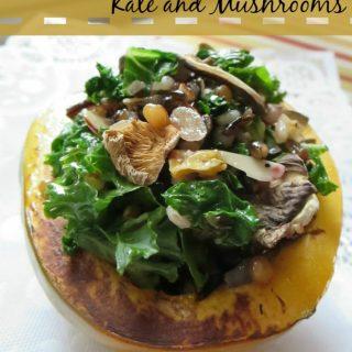 Vegan friendly Acorn stuffed squash recipe with kale and mushrooms
