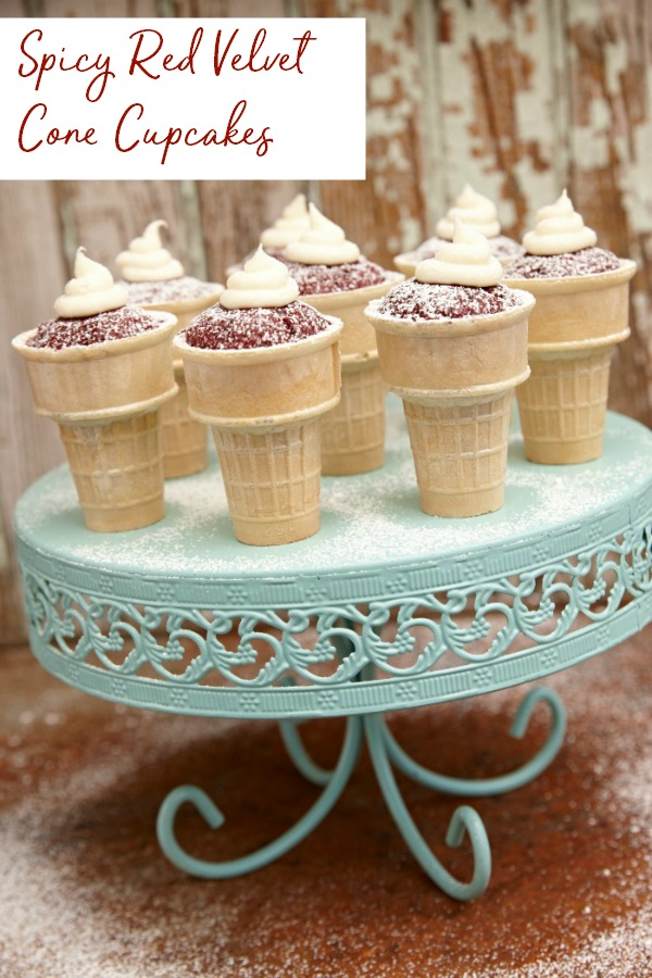Delicious Red Velvet cupcakes with a twist - they're spicy! These are great for an adult party, especially with a circus theme. The cone makes them easy to eat too. | Southern | red velvet cupcake | spice | hot | spiced | cream cheese frosting | party | portable cupcakes | Spicy red velvet cake | Dessert | #dessertrecipes #recipes