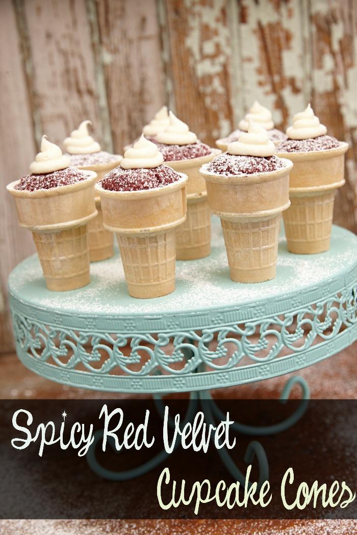 spicy red velvet cupcake cones