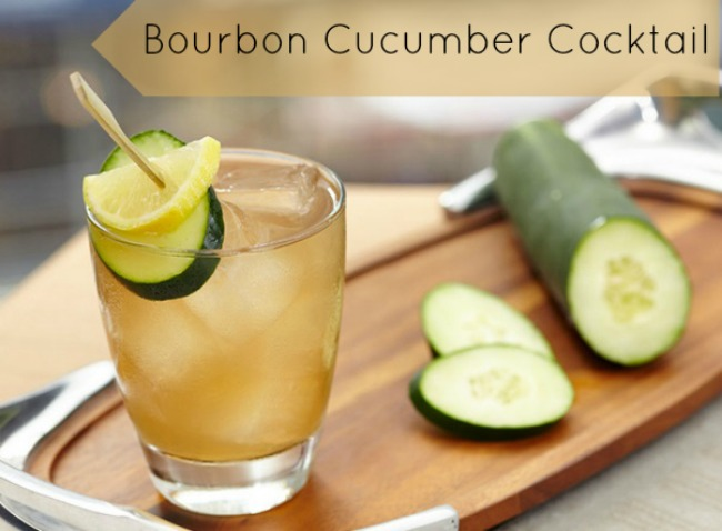 Bourbon cucumber cocktail on serving tray